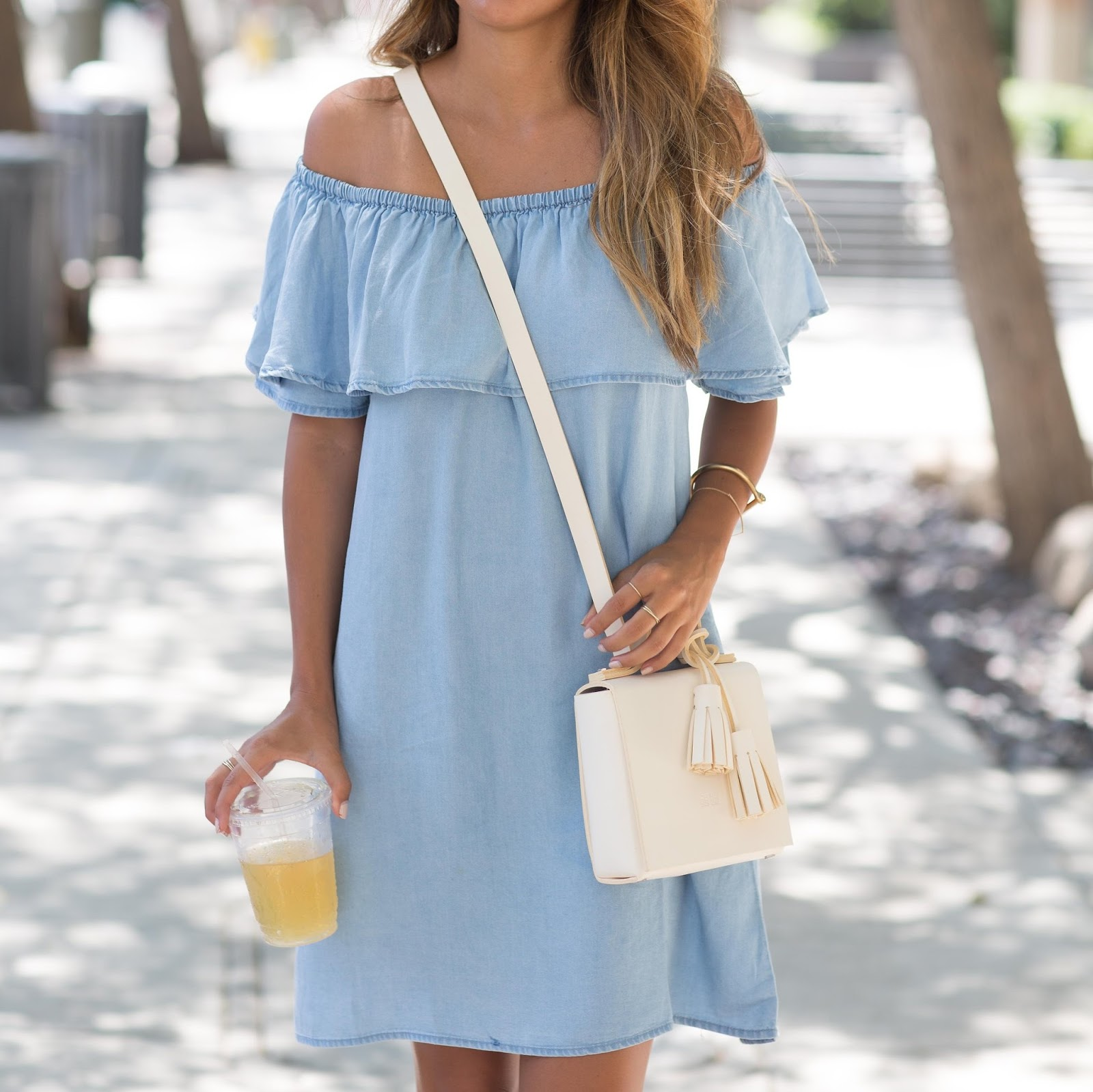 how to wear off the shoulder, chambray dress, summer outfit ideas