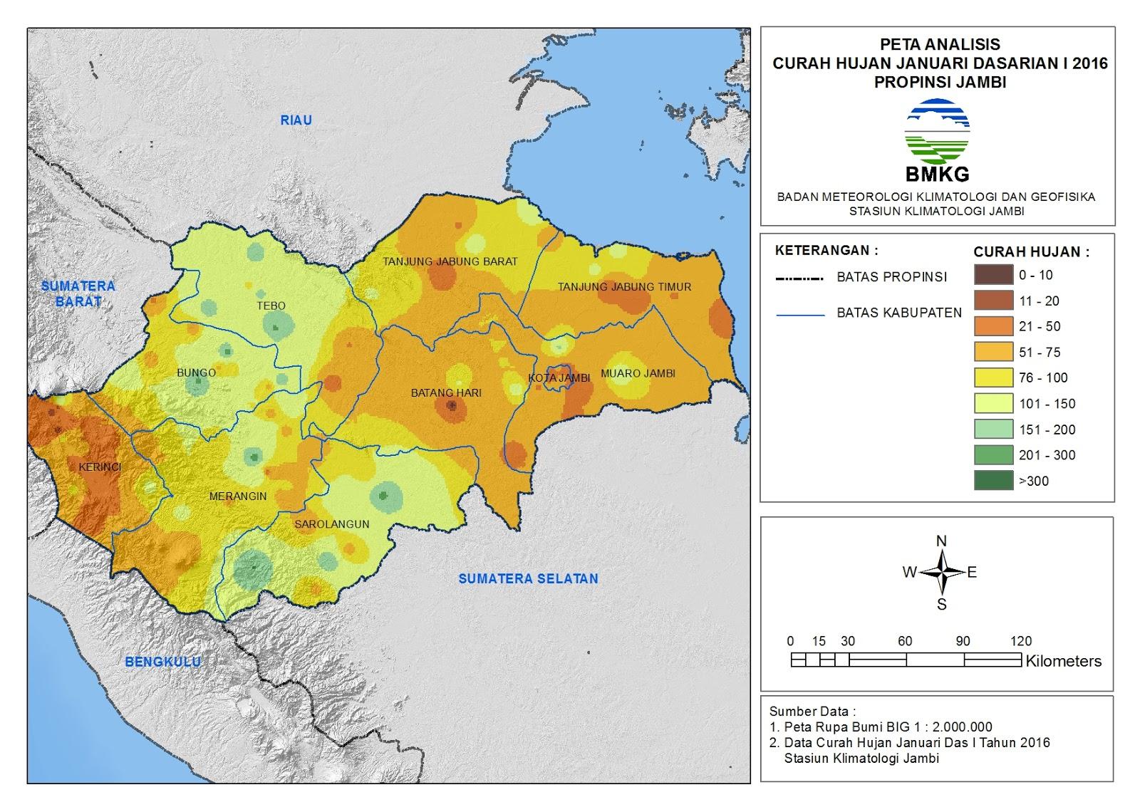 Analisis Curah Hujan Dasarian Januari 2016 Provinsi Jambi ...