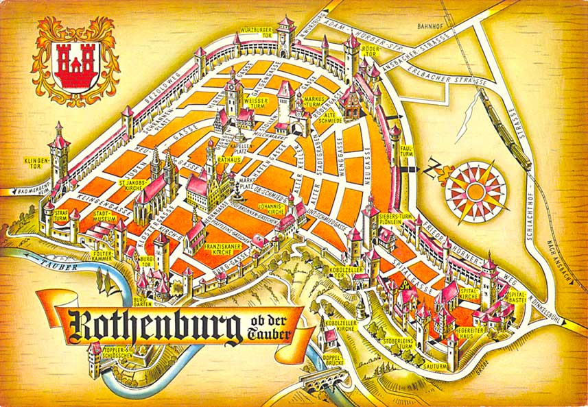 Postcardy The Postcard Explorer Map Rothenburg Ob Der Tauber