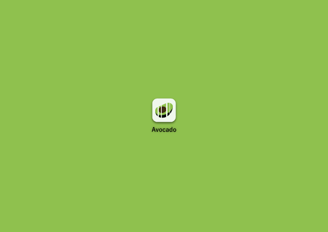 Second image description: the same logo, but now the avocado is contained on a grayish square and everything is smaller. End description