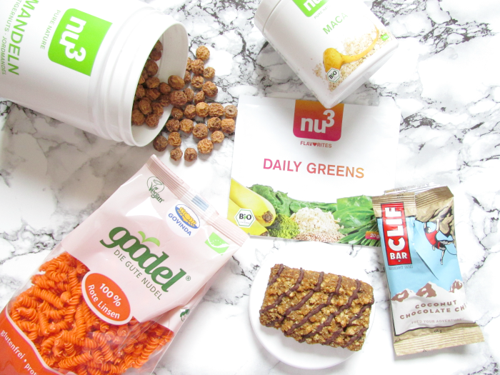 Review: nu3 - Insider Box März - Happy & Healthy , Erdmandeln / Tigernuts, Smoothie Pulver, Clif Bar, Goode Linsen Nudeln, Maca Pulver