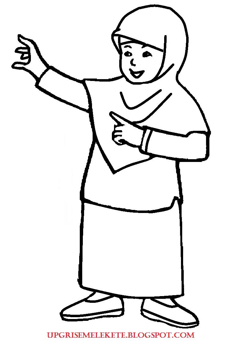 Mewarnai Gambar Ibu Guru Muslim Wwwtollebildcom