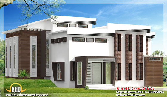 Spacious modern home elevation Kerala