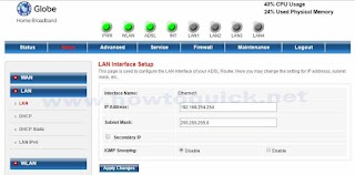 Globe DSL Prolink Router Default Admin Password and IP Address
