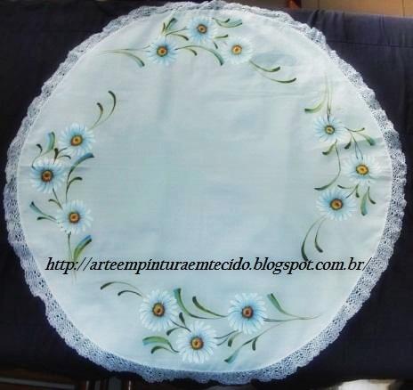 pintura em tecido toalha de mesa com margaridas