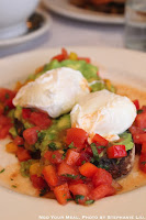 Avocado and Poached Eggs on Toast with tomato-jalapeño salsa at Balthazar