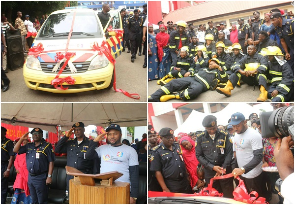 AY Comedian & others join Big Church Foundation to present Ambulance to Fire Service Commission