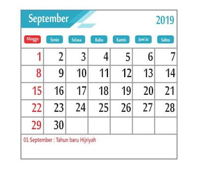 Kalender September 2019 - tanggal merah