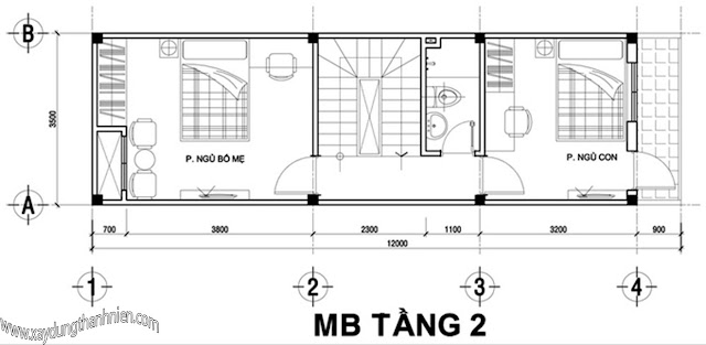 Mẫu nhà ống 2,5 tầng diện tích 34m2 cho gia đình 4 người thiết kế sang trọng