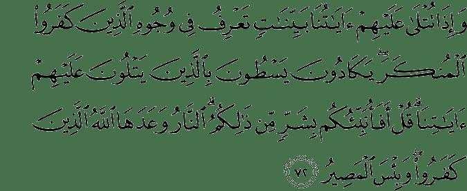 Surat Al Hajj ayat 72