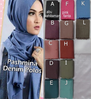 Model Jilbab Pashmina Denim Polos