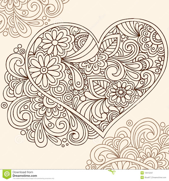 Doodle Coloring Pages For Adults  Handdrawn Doodle Henna Heart Vector  Illustration With Flowers