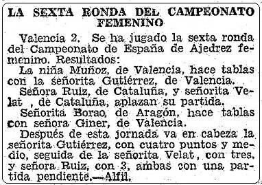 Recorte de ABC sobre el II Campeonato Femenino Individual de España, 3 de agosto de 1951