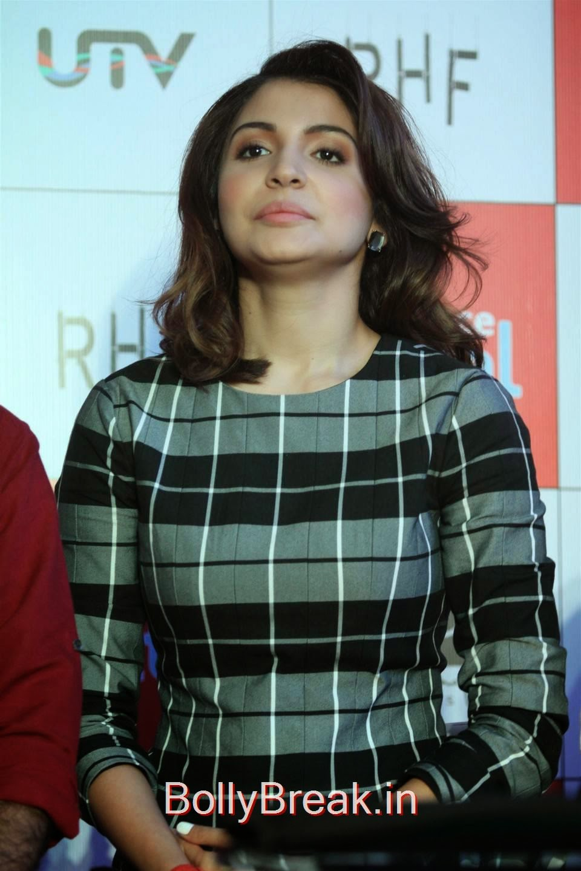 Anushka Sharma Stills, Anushka Sharma Hot Pics In check dress from PK Mobile Game Launch
