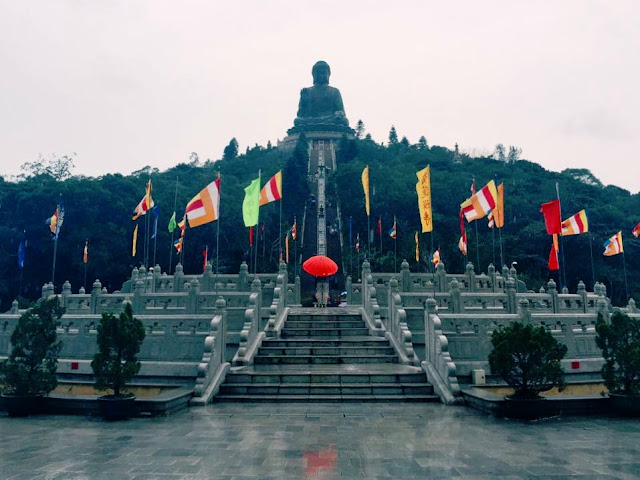The Big Buddha in the cold and the rain, Lantau Island, Hong Kong