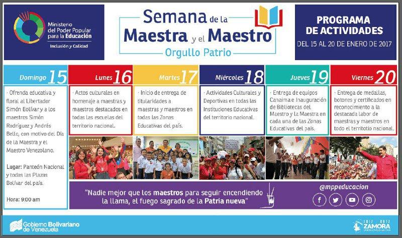 Ministerio de Educación celebrará semana del maestro del 15 al 20 de enero