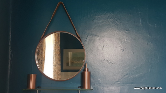 Copper and teal bathroom