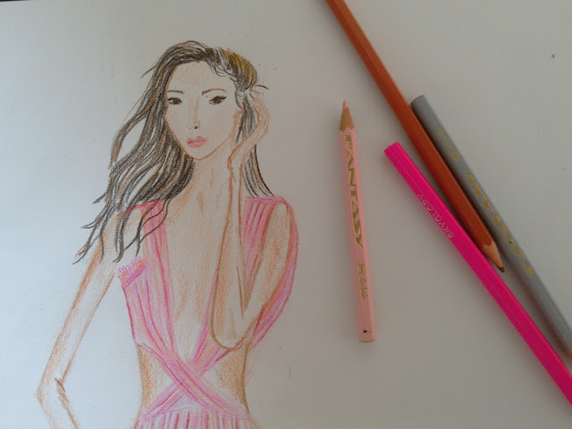 #moda pink dress pencil drawing