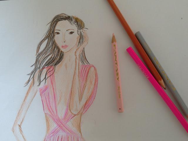 #moda pink dress pencil drawing