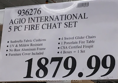 Deal for the Agio International 5 Piece Woven Fireplace Chat Set at Costco