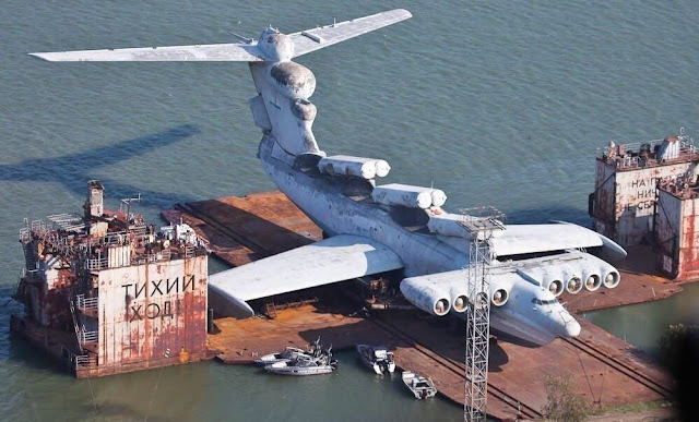 Lun-sınıfı Ekranoplan Kaspiysk, Rusya'da çürüyor...