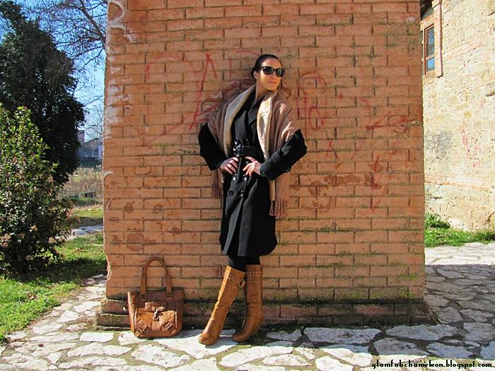 Black coat tan accessories outfit idea