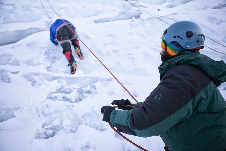 Kelsey Ratcliffe—a restaurant and hospitality management major—belays for classmate Trevor Jones during HPER's Beginning Ice Climbing class.