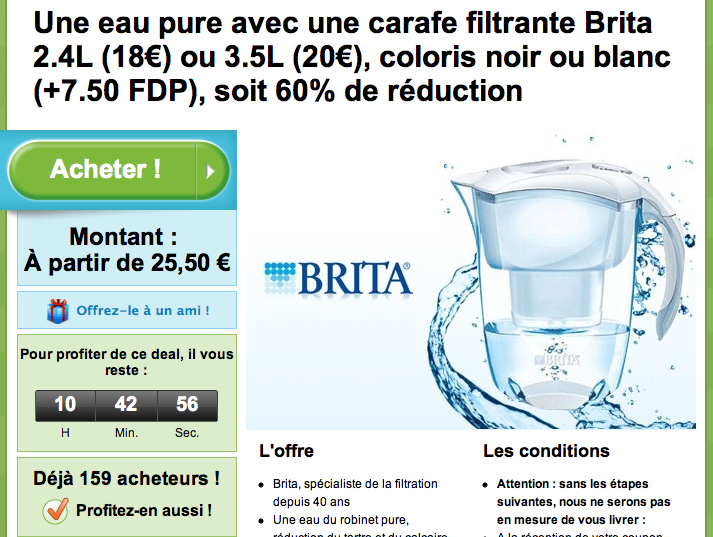 mast mon avis sur tout carafe brita deal du jour groupon vraie promotion. Black Bedroom Furniture Sets. Home Design Ideas