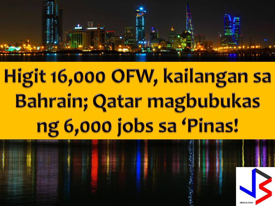Bahrain is in need of more Overseas Filipino Workers (OFWs) but the very slow processing affects the deployment of the OFWs in the said country.  According to Secretary Silvestre Bello III of Department of Labor and Employment (DOLE), this issue was brought up to him by the assistant labor secretary of Bahrain in their meeting.  In the Philippines he said, it takes about six weeks to process the deployment of the migrant workers, considered a very slow compared to the case of Indonesia and India who can send migrants workers in a matter of two weeks.