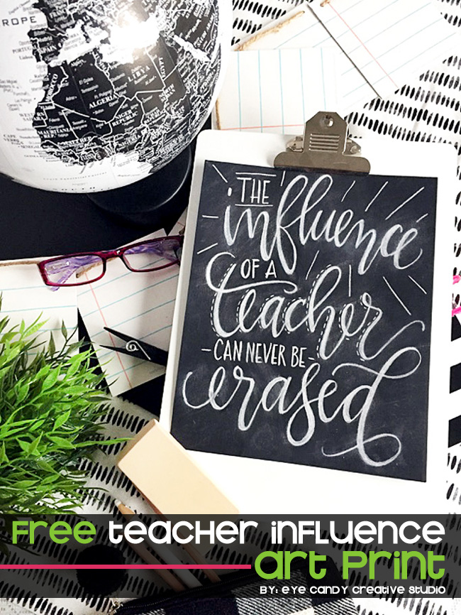 an influence of a teacher can never be erased, hand lettered, art print