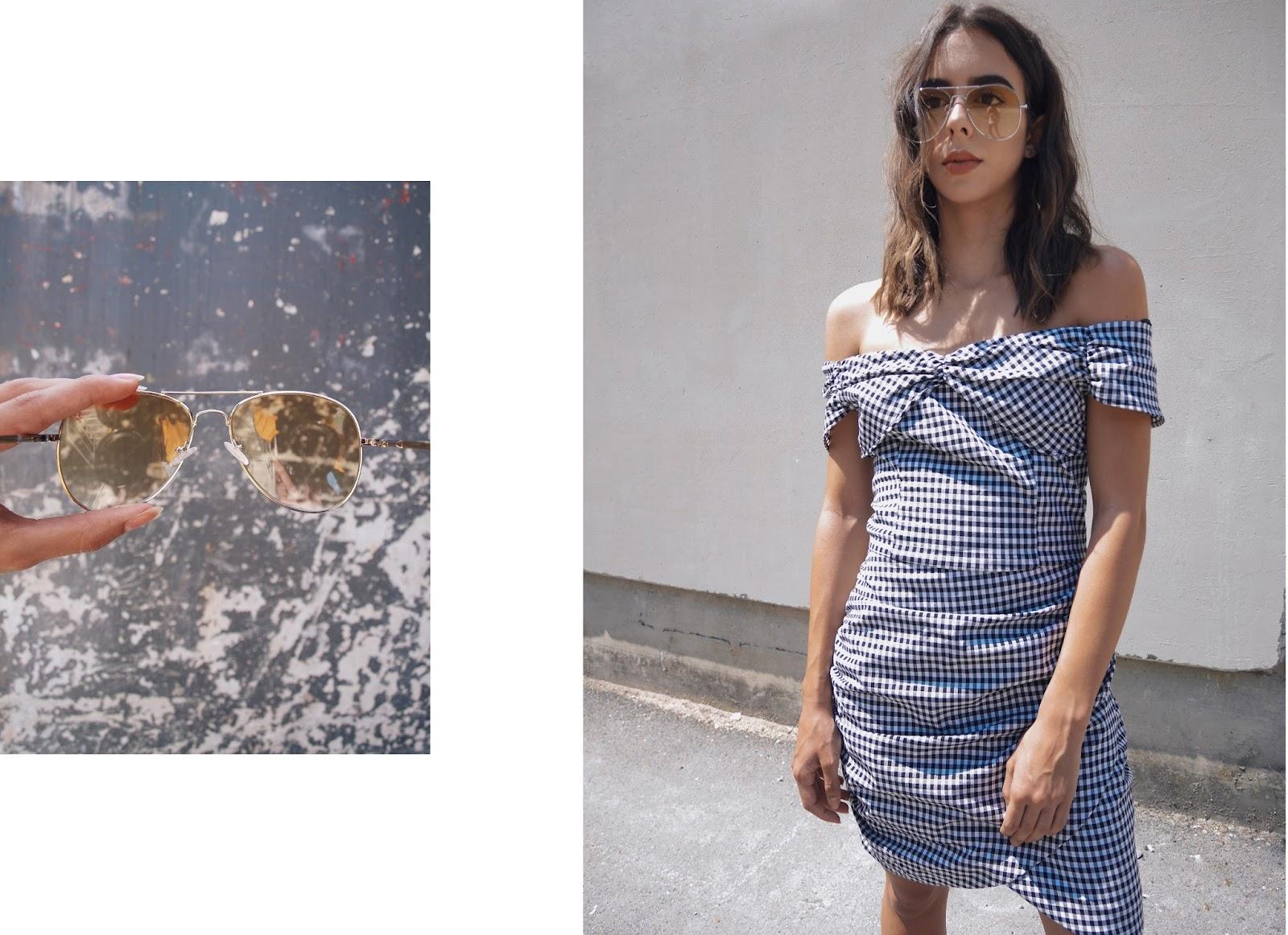 VICHY-DRESS-ROBE-CARREAUX-LUNETTES-TEINTES-JAUNES-COASTALANDCO-BLOG-HENDAYE-PAYSBASQUE-TENUE-INSPIRATION-2017-ETE