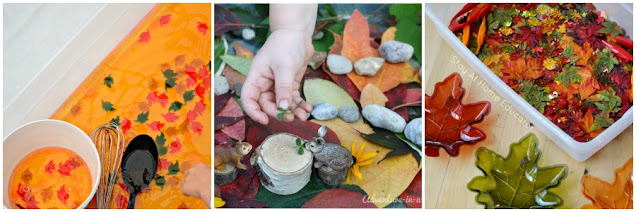 Fall themed sensory bin activities