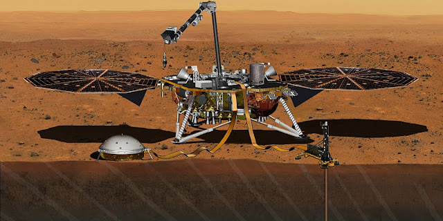 This artist's concept depicts the InSight lander on Mars after the lander's robotic arm has deployed a seismometer and a heat probe directly onto the ground. InSight is the first mission dedicated to investigating the deep interior of Mars. The findings will advance understanding of how all rocky planets, including Earth, formed and evolved. Credits: NASA/JPL-Caltech