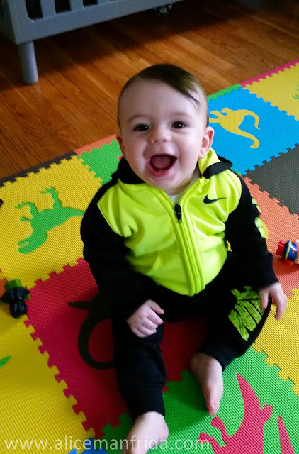 ten months old, ten month old baby boy, happy baby, Nike baby clothes