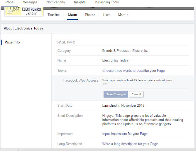 Facebook Fanpage webaddress