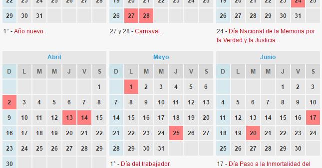 Calendario de feriados 2017 ignacio online for Calendario 2015 ministerio del interior