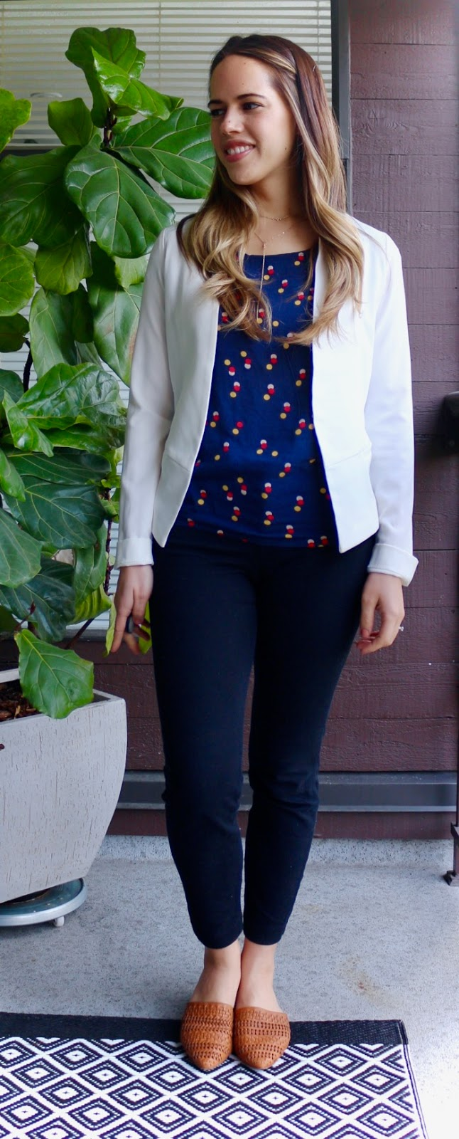 Jules in Flats - White Blazer with Cognac Woven Mules -