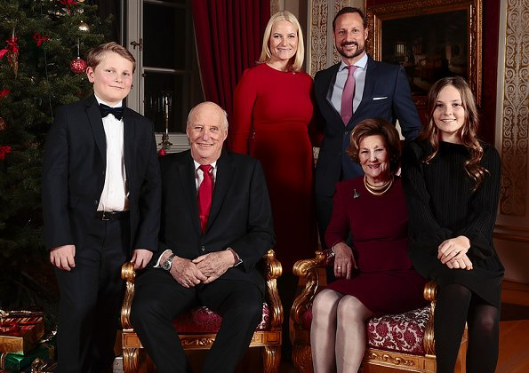 Queen Sonja, Crown Princess Mette-Marit, Princess Ingrid Alexandra and Prince Sverre Magnus