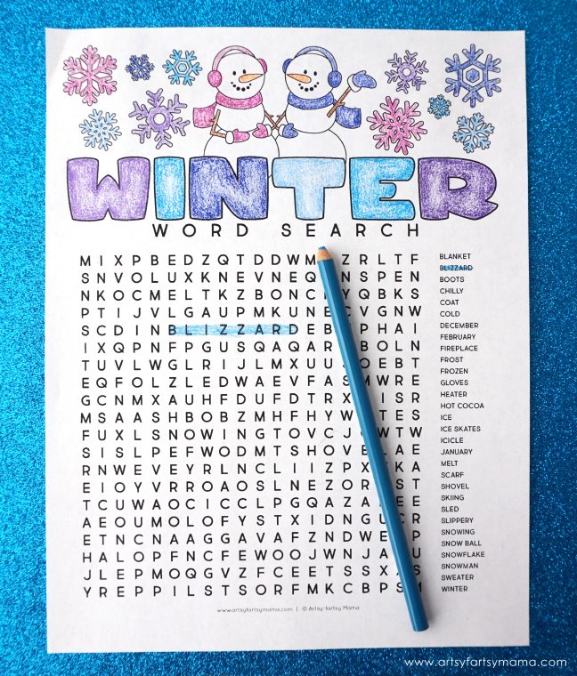 Handy image inside winter word search printable free