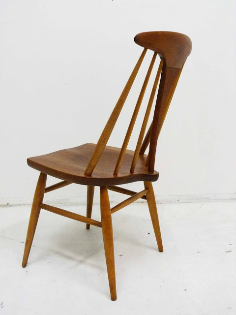 Heywood Wakefield Dowel High Back Mid-Century Doeskin Dining Chairs Back Angle