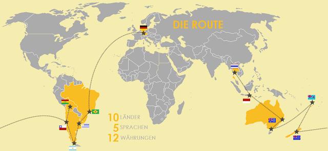 Halbes Jahr Reisen - Reiseroute