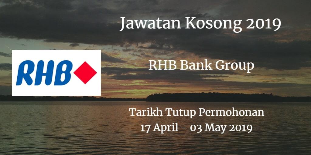 Jawatan Kosong RHB Bank Group 17 April - 03 May 2019