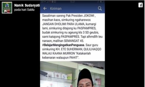"""Bisiki Presiden """"Jangan Dholimi Para Ulama"""", Ustadz Tasik Ini Ditendang Paspampres"""