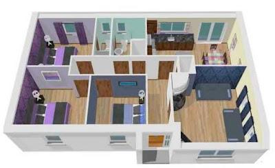 Contoh Denah Gambar Rumah 3 Kamar Tidur Minimalis 3D