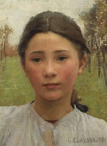 Sir George Clausen, R.A., R.W.S. (1852-1944) , Head of a ... |Sir George Clausen Head Girls