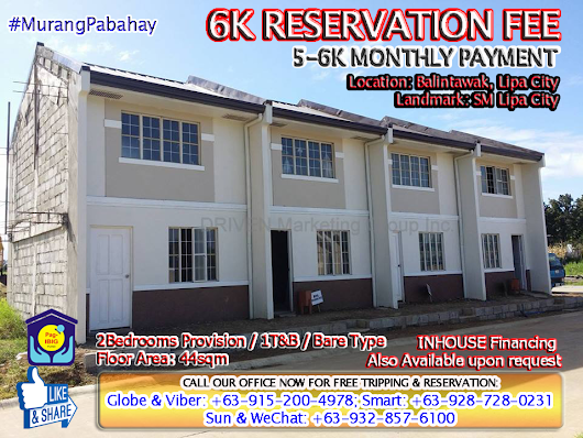 LIPA CITY, Batangas; MURANG PABAHAY BRIXTON HOMES 5K to 6K MONTHLY CHEAP RENT TO OWN; CHEAP TOWNHOUSE 2BR PROVISION