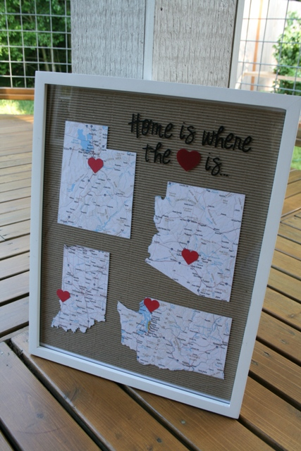 Us Map Picture Frame.Home Is Where The Heart Is Framed Maps Tutorial Eat Pray Create