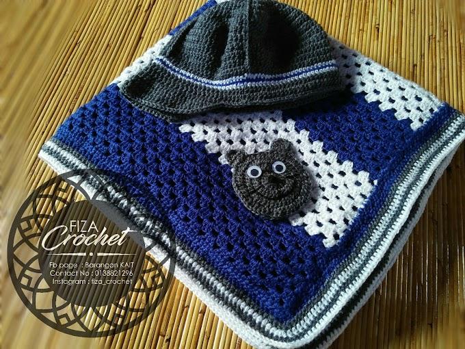 Blanket dan Topi Kait Bayi