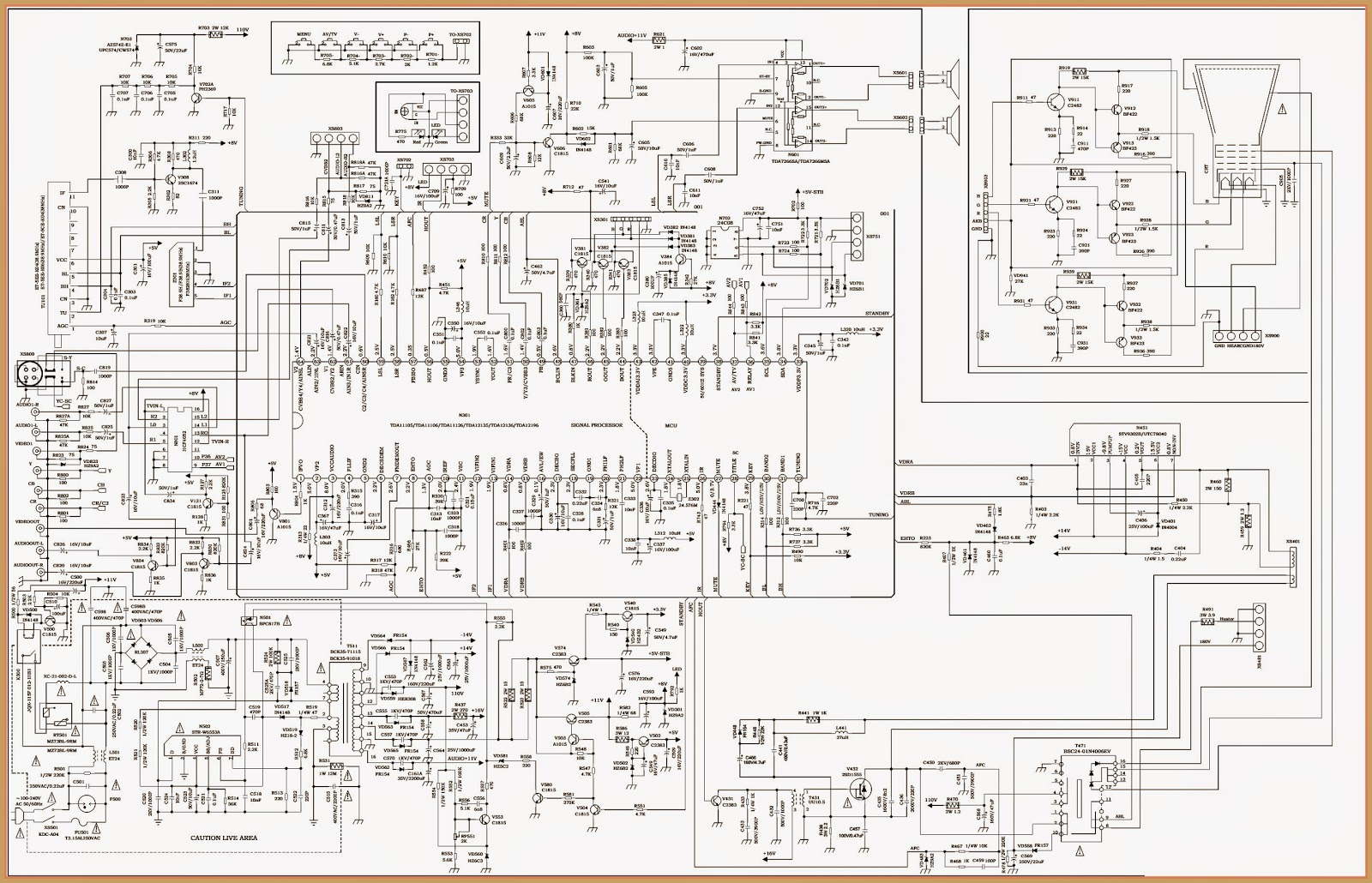 COLOR TV KIT CIRCUIT DIAGRAM Full  TDA 11106  STV9302 BASED