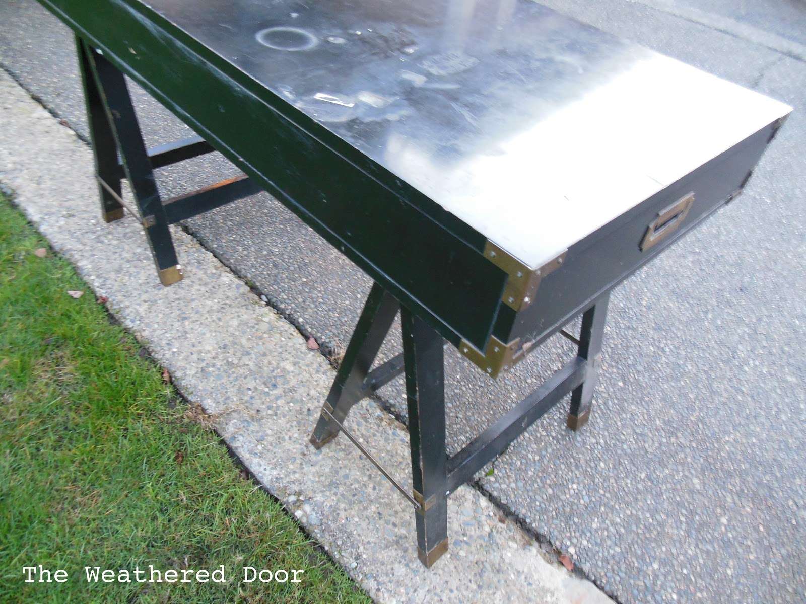 New Find Campaign Desk With Sawhorse Legs The Weathered